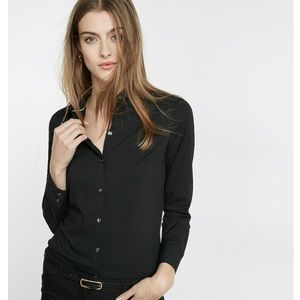 Express Essential Fitted Button-Down Black